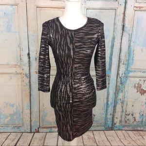 Metallic zebra patterned dress 3/4 sleeve